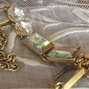 J. CREW AURORA BOREALIS CRYSTAL NECKLACE GOLD